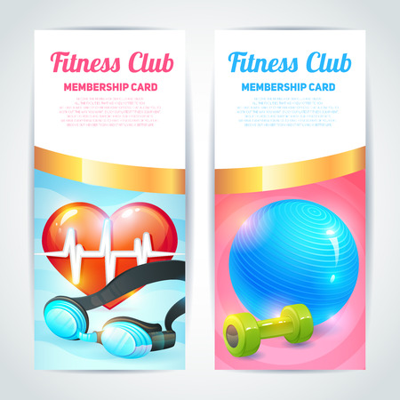 Fitness club membership card design vertical banners set isolated vector illustration Vector