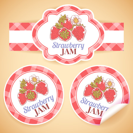 Sweet and healthy homemade strawberry jam paper label set isolated vector illustration