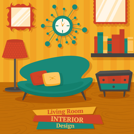 Interior indoor living room design with sofa lamp and bookshelf vector illustration Vector