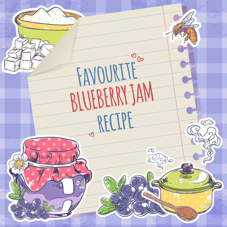 marmalade: Sweet homemade blueberry jam marmalade recipe on lined paper poster vector illustration Illustration