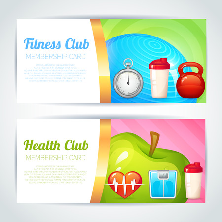 health club: Fitness health club membership card design horizontal banners set isolated vector illustration