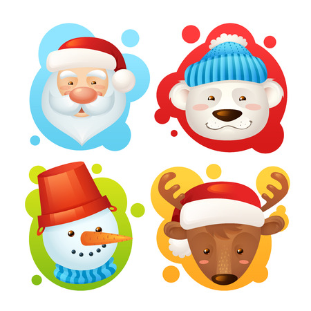 christmas characters: Christmas characters set isolated with santa claus deer snowman polar bear isolated vector illustration