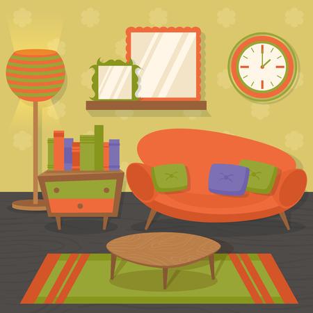 옥내의: 소파 거울 테이블 벡터 일러스트 레이 션, 인테리어, 실내 거실 오렌지 디자인