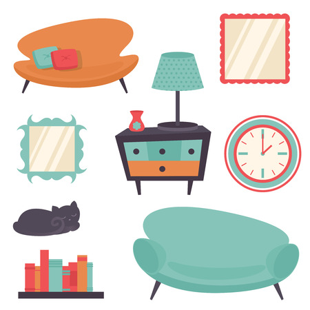 옥내의: Interior indoor living room design elements set isolated vector illustration