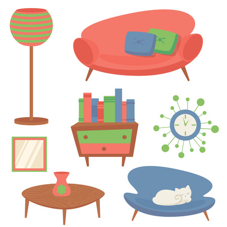 옥내의: Interior indoor living room design elements set with sofa clock mirror isolated vector illustration