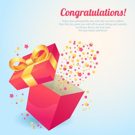 Pink gift box with yellow ribbon congratulations postcard vector illustration Reklamní fotografie - 32133930