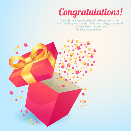 Pink gift box with yellow ribbon congratulations postcard vector illustration