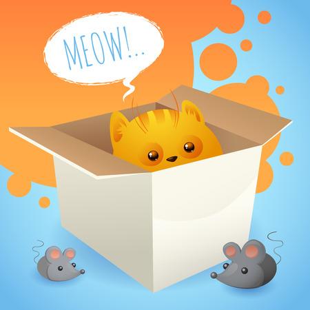 carton box: Kitten in carton box with mice background vector illustration