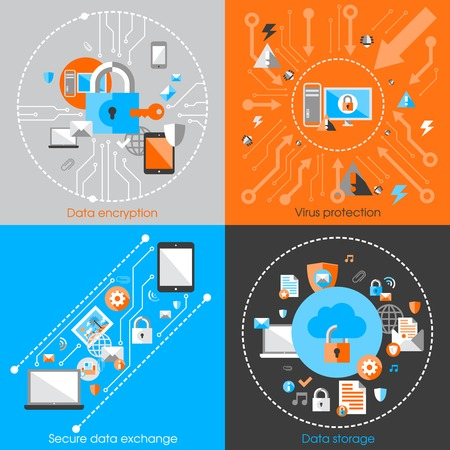 network: Business data protection technology and cloud network security concept infographic design elements vector illustration