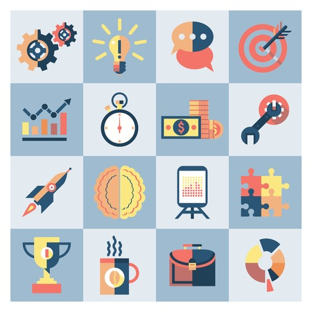 Creative process research brainstorming productivity icons set isolated vector illustration