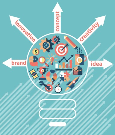 creativity concept: Lightbulb with business icons inside creativity concept vector illustration Illustration