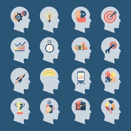 thinking machines: Human head silhouettes with idea icons inside isolated vector illustration Illustration
