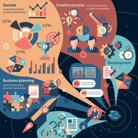 business planning: Creative infographic set with business planning development success elements vector illustration Illustration
