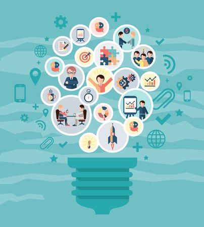 Concetto di rete sociale con l'idea lampadina e uomini d'affari icone illustrazione vettoriale