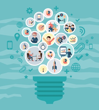 Social network concept with idea lightbulb and business people icons vector illustration Çizim