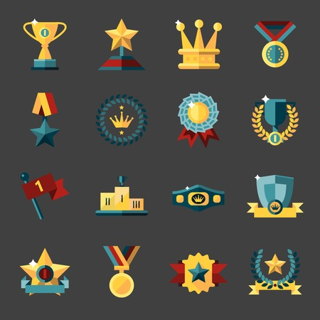Award icons set of trophy medal winner prize champion cup isolated vector illustration