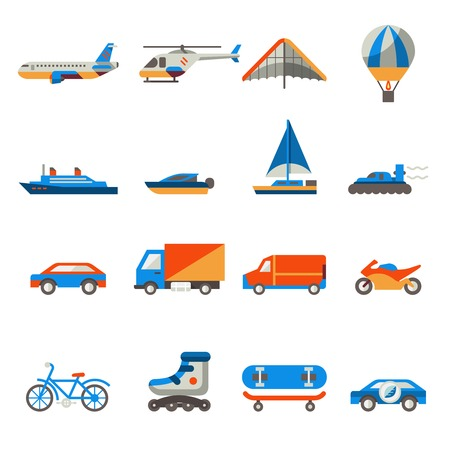 Transport icons set with ship truck helicopter  isolated vector illustration Vector