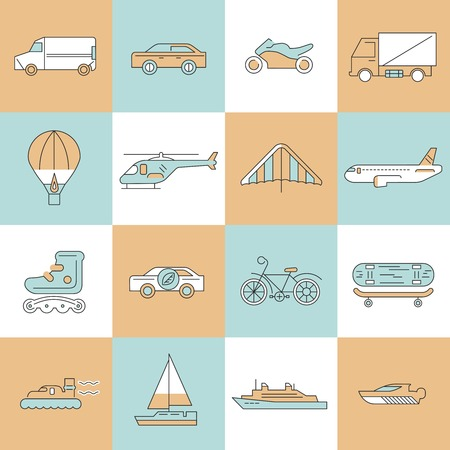 minivan: Transport flat line icons set with bicycle minivan ship isolated vector illustration