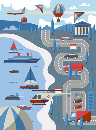 air traffic: City transport concept with air water and road vehicles vector illustration Illustration