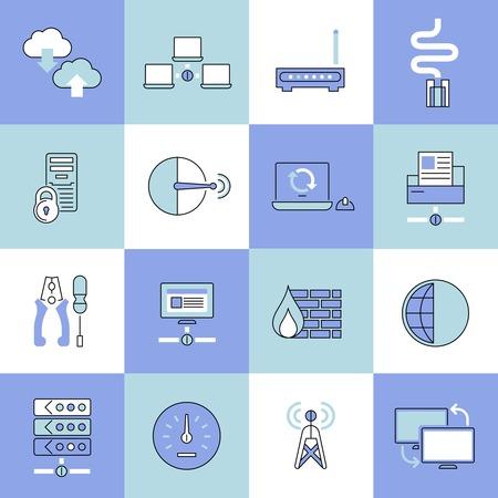 web technology: Tecnologia web la sicurezza dei dati della rete di linea piatta icons set illustrazione vettoriale isolato