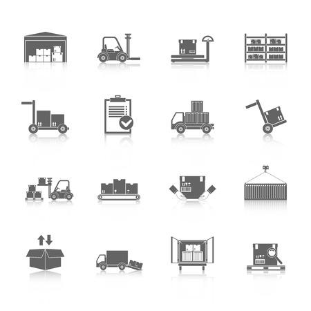 Warehouse distributie en logistieke dienstverlening pictogrammen zwart set geïsoleerd vector illustratie Vector Illustratie
