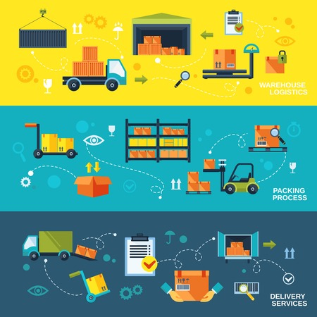 Warehouse flat banners set of logistics packing process delivery services isolated vector illustration Stock Illustratie