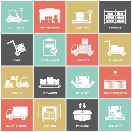 supplies: Warehouse icons flat set of storage cart verification isolated vector illustration