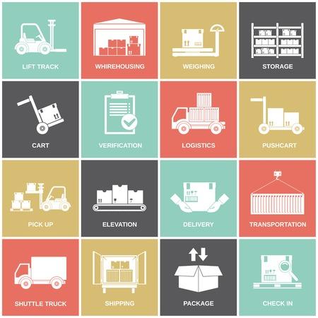 Warehouse icons flat set of storage cart verification isolated vector illustration