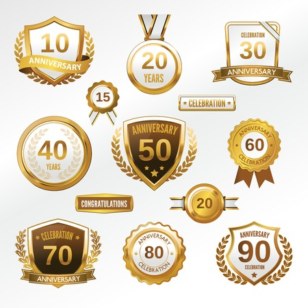 Anniversary celebration golden labels and badges set isolated vector illustration Vector