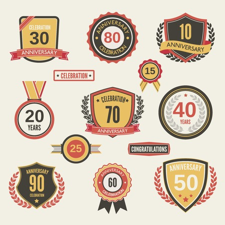 wedding celebration: Anniversary celebration retro label set isolated vector illustration