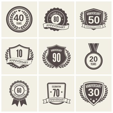 Anniversary celebration black label icons set isolated vector illustration Illustration