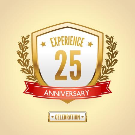 30 to 40 year old: Anniversary 25 celebration golden label shield vector illustration. Illustration