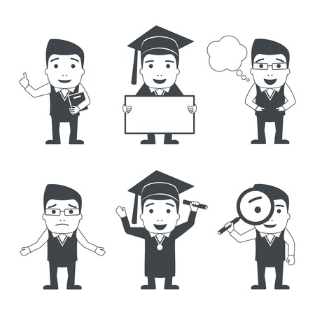 vector student: Education male teacher and student characters black set isolated vector illustration.