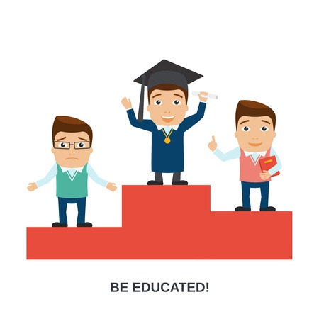 confused man: Education male teacher and student characters on winners podium vector illustration