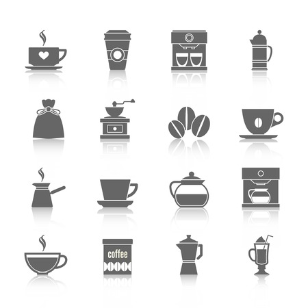 Coffee cup pot energetic drink icons black set isolated vector illustration