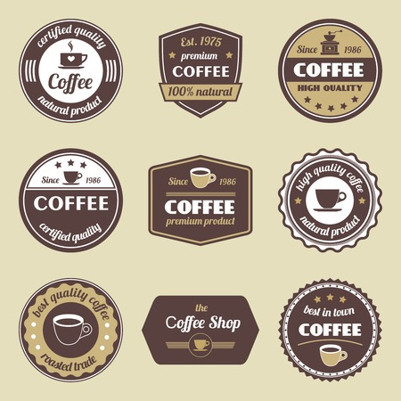 machines: Coffee natural product certified quality label set isolated vector illustration