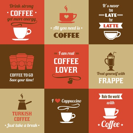 cup coffee: Coffee latte frappe cappuccino mini poster set isolated vector illustration