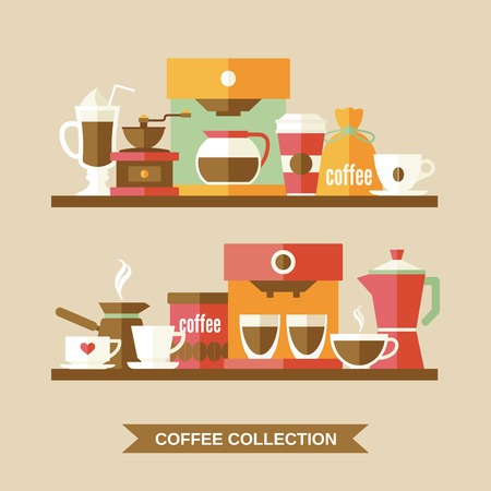 machine shop: Coffee flat collection drink decorative icons on shelves vector illustration