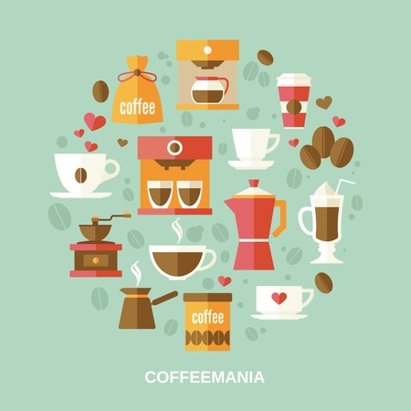 coffee set: Coffee decorative icons flat set in circle shape vector illustration