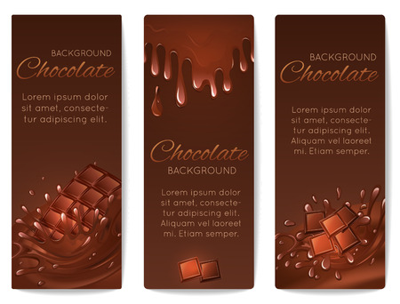 Sweets dessert food milk chocolate bars and splash drips vertical banners set isolated vector illustration