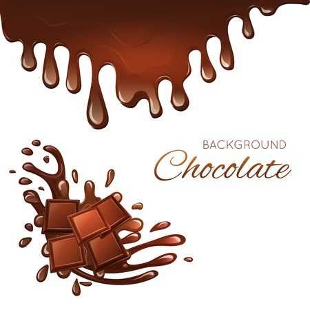 Sweets dessert chocolate bar pieces and splash drips background vector illustration