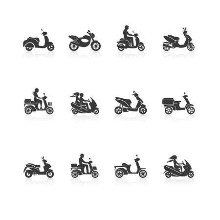 Black scooter motorcycle vehicles with people silhouettes icons set isolated vector illustration Illustration