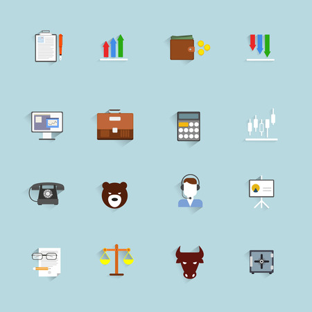 Finance exchange money trading icons flat set isolated vector illustration Vector