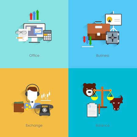 Finance exchange flat set with office business balance isolated vector illustration Vector