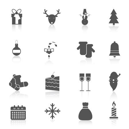 Christmas new year holiday season celebration black icons set isolated vector illustration. Vector