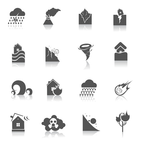 Natural disaster environmental catastrophe icons black set isolated vector illustration Vector