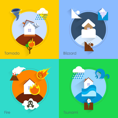 hurricane disaster: Natural disaster flat set with tornado blizzard fire tsunami isolated vector illustration