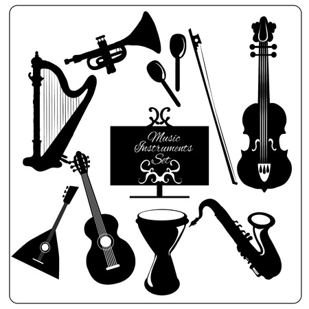 fiddlestick: Classic musical orchestral instruments black icons set of guitar violin trumpet harp sketch abstract isolated illustration