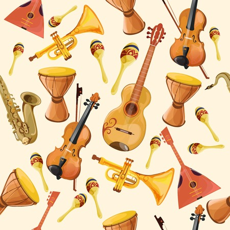 Folk music ensemble instruments seamless pattern with horn drum guitar and fiddle seamless pattern color illustration Illustration