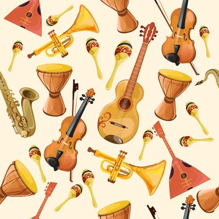 geigen: Volksmusik-Ensemble Instrumente nahtlose Muster mit Horn Trommel-Gitarre und Geige nahtlose Muster Farbe Abbildung Illustration